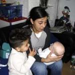 Marjolein speelt met evin en Isabella 22-10-2004